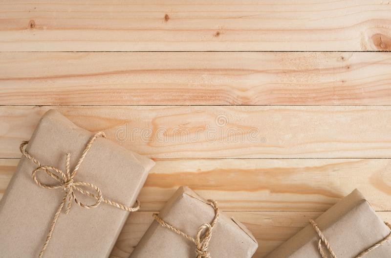 Vintage Christmas wood background with gifts. And copy space royalty free stock image