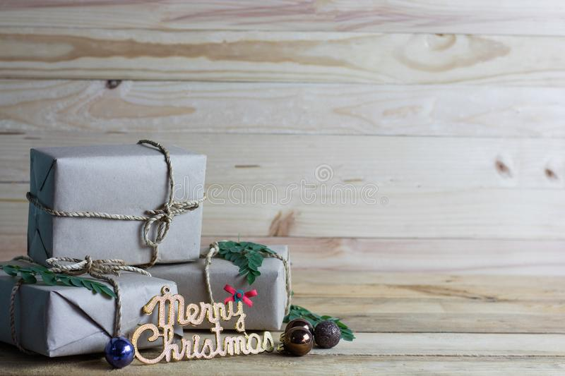 Vintage Christmas wood background with gifts. And copy space stock photos