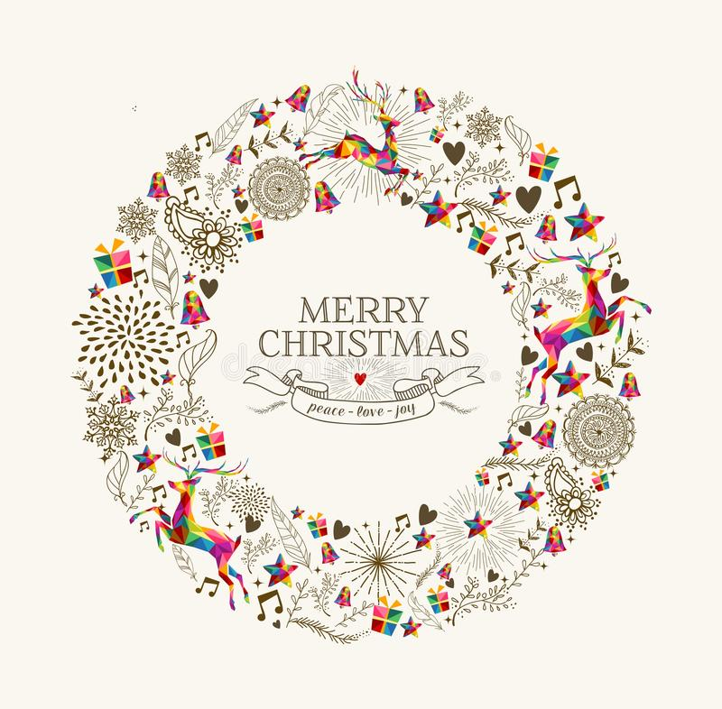 Free Vintage Christmas Wreath Greeting Card Royalty Free Stock Images - 46639399