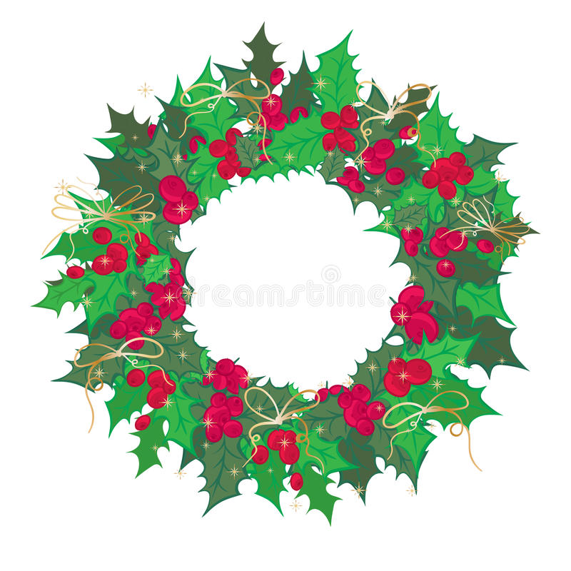 Vintage Christmas wreath with holy branch isolated on white background stock illustration