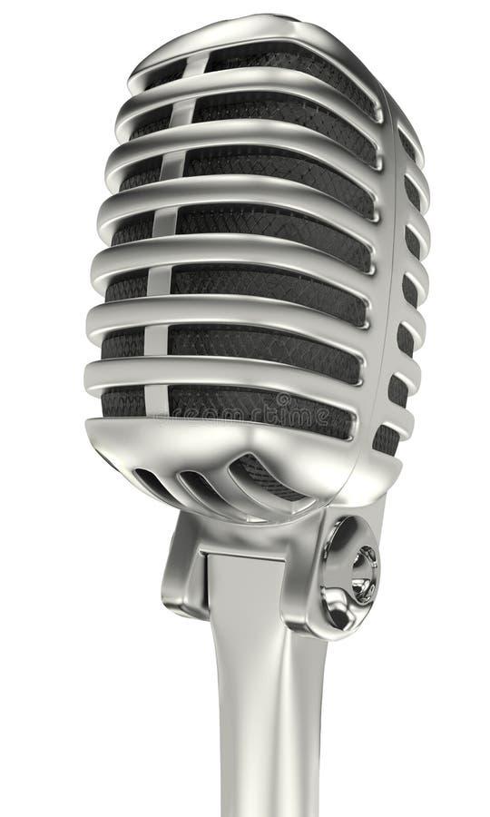 Vintage chrome microphone royalty free illustration