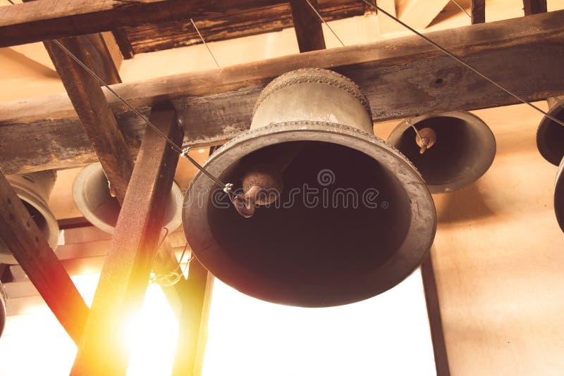 Vintage church bell under tower christian church in Thailand stock photos