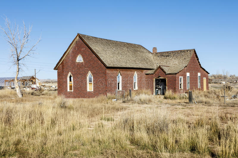 Vintage church grungy weathered prairie royalty free stock photos