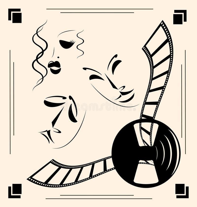 Download Vintage cinema stock vector. Image of camedy, gentlemans - 26520591