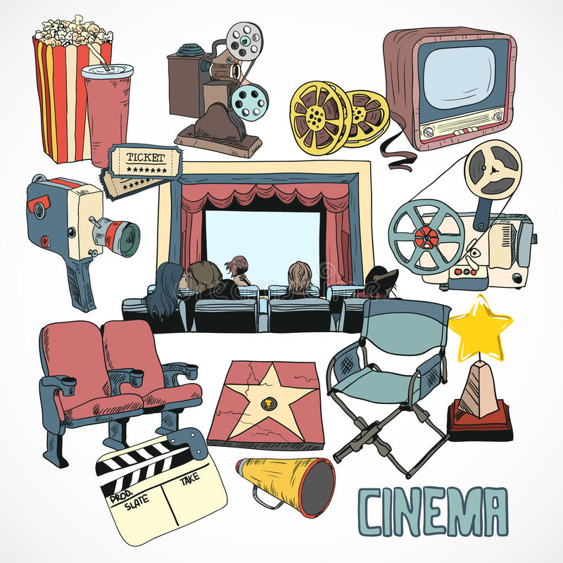 Vintage cinema concept poster. Vintage cinema with retro movie reel projector screen and couple kissing concept poster hand drawn vector illustration vector illustration
