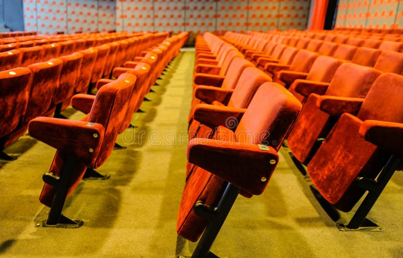 Vintage cinema hall chairs stock images
