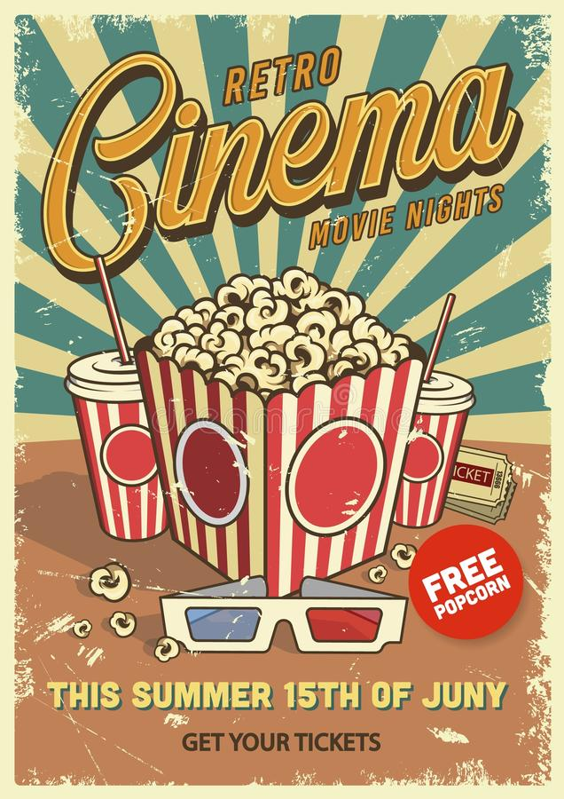 Vintage Cinema Poster Stock Vector Illustration Of Poster 116189738