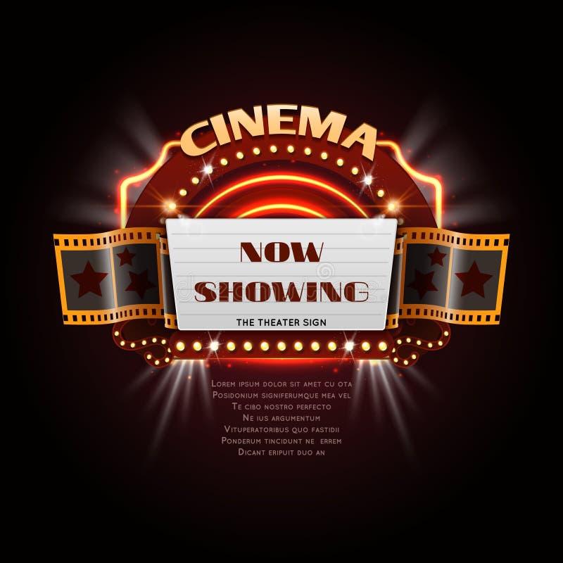 Vintage cinema sign. Glowing movie signboard with lightbulb frame vector illustration. Signboard vintage movie, frame decoration billboard cinema stock illustration