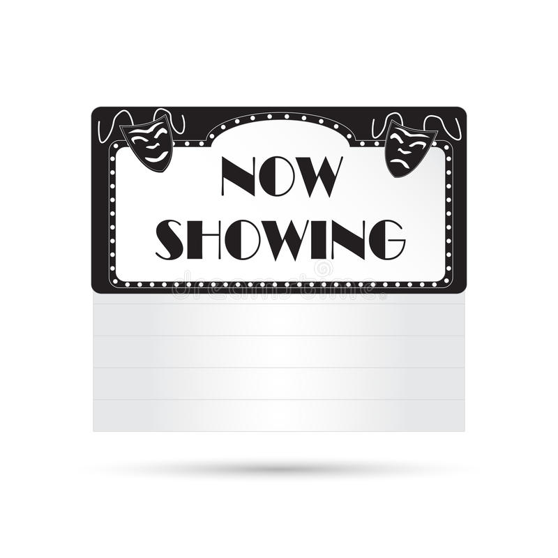 Vintage Cinema Sign. Illustration of a vintage cinema sign isolated on a white background stock illustration