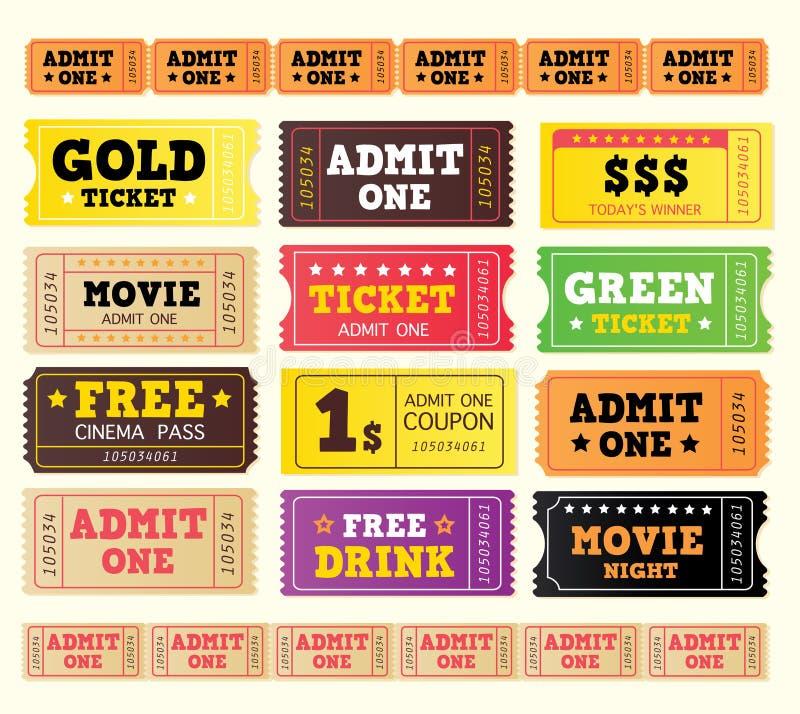 Vintage cinema tickets. BIG COLLECTION. stock illustration
