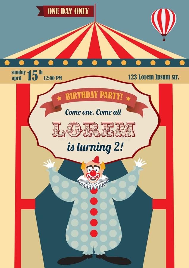 Vintage Circus Birthday Invitation Stock Vector - Illustration ...