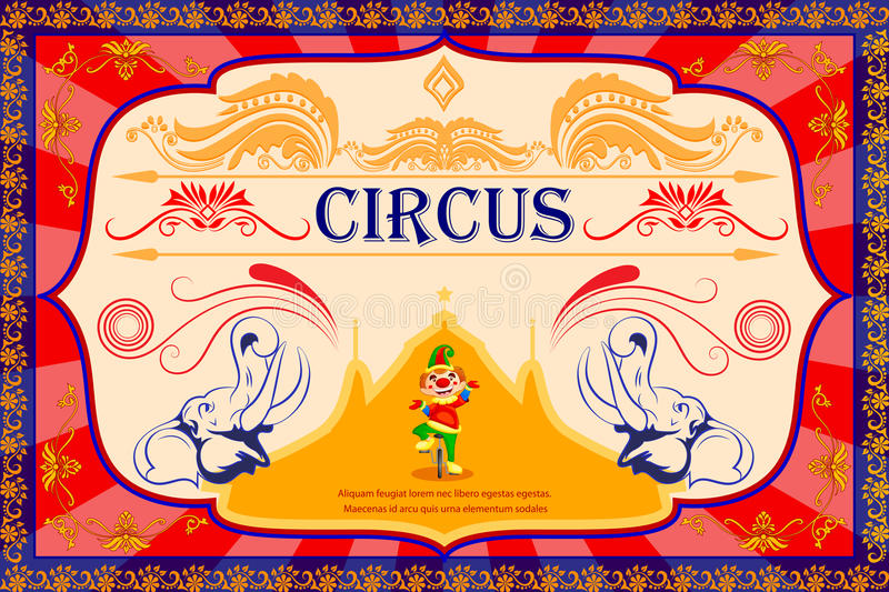 Vintage Circus Cartoon Poster Invitation for Party Carnival vector illustration