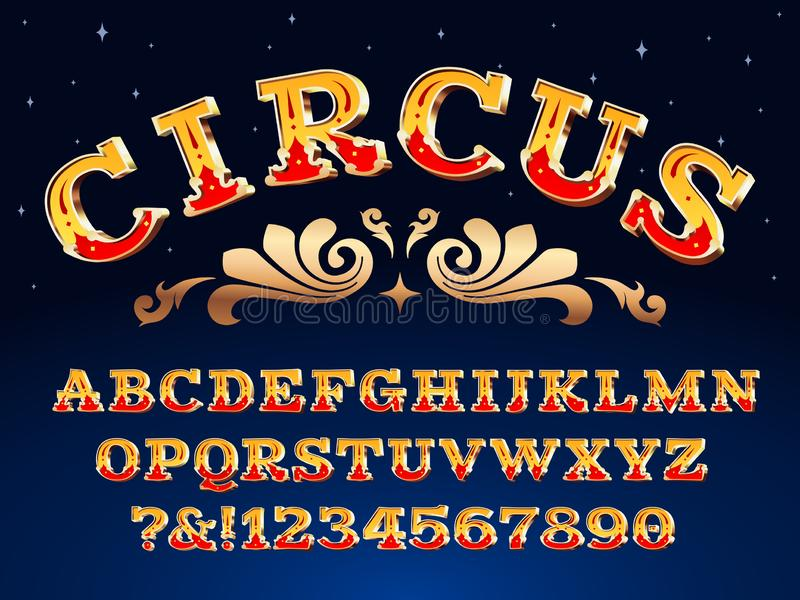 Vintage circus font. Victorian carnival headline signage. Typeface steampunk alphabet sign vector illustration royalty free illustration