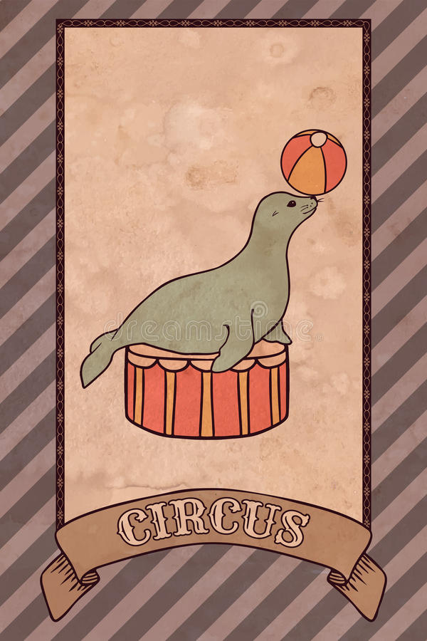 Vintage circus illustration, seal vector illustration