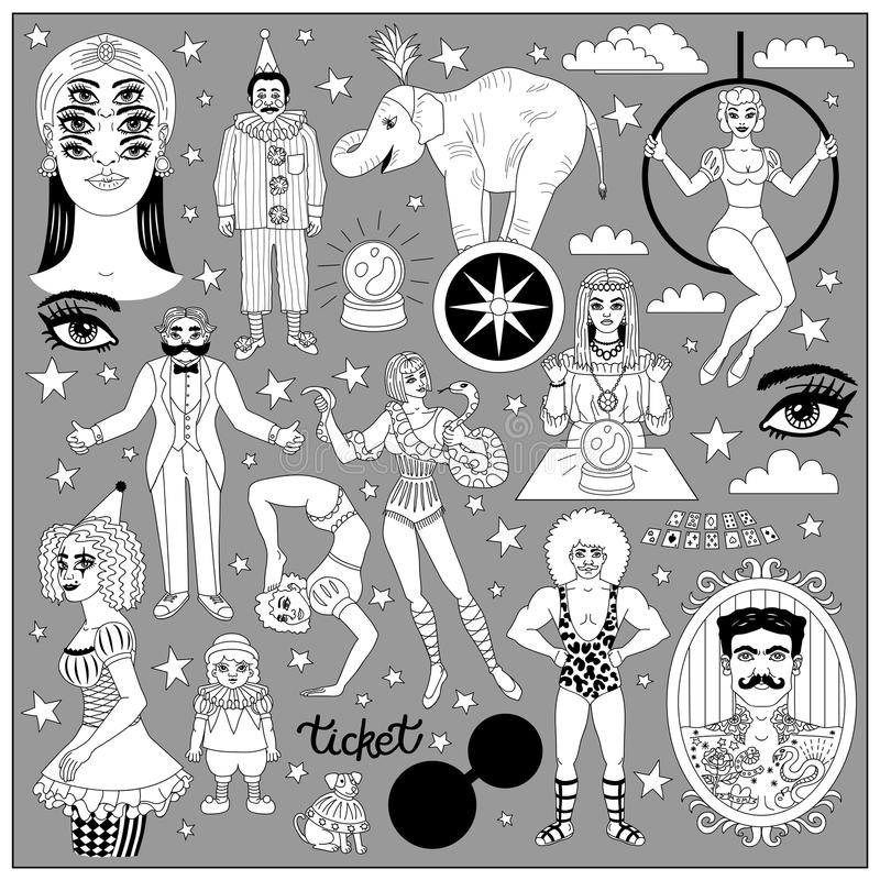 Vintage circus illustrations collection. Flash tattoes set. Lineart illustrations for adult coloring book. Circus perfomers. Strong man, tattooed man, psychic stock illustration
