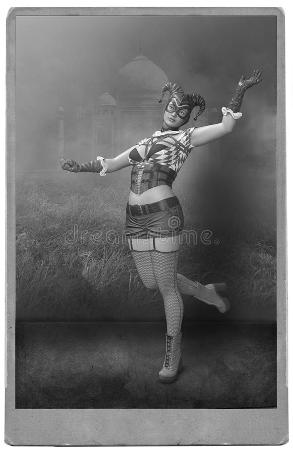 Vintage Circus Performer Woman Photograph. Old vintage photograph of a woman circus performer. The female lady is posing for the camera and dressed like a court vector illustration