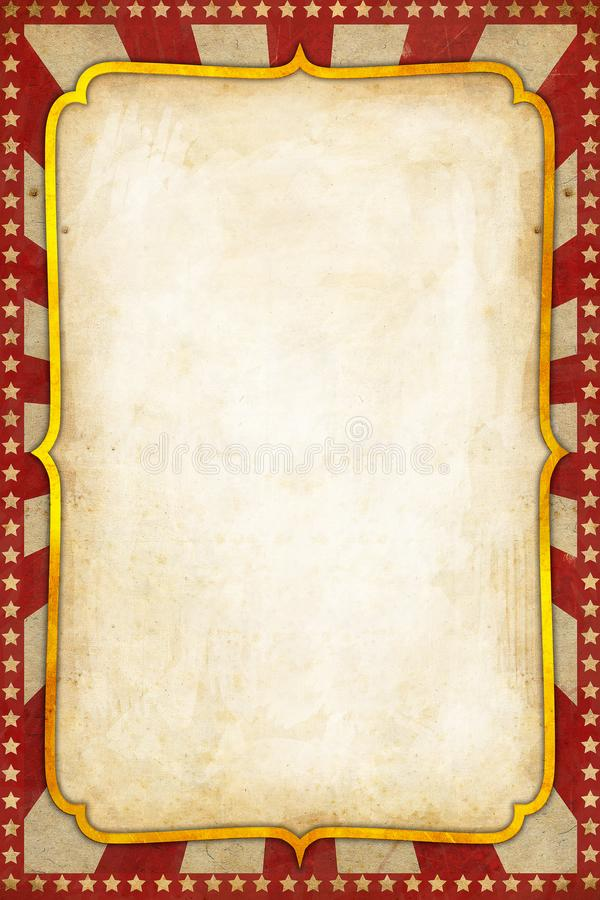 Free Vintage Circus Poster Background With Golden Frame Red Sunburst And Stars Stock Photo - 135057600