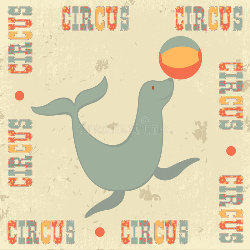Vintage circus with seal stock illustration