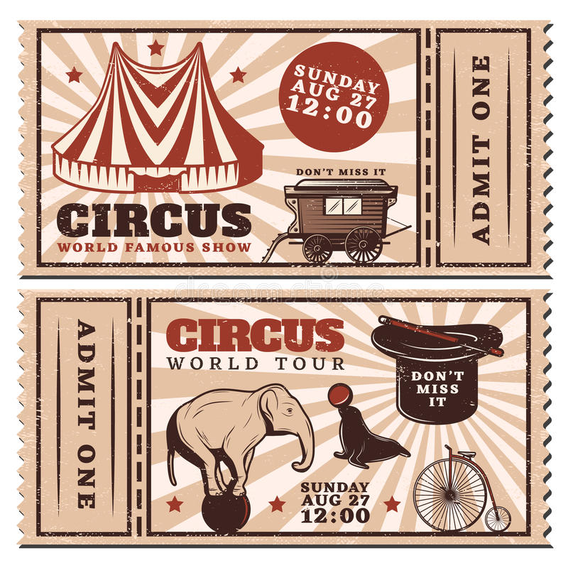 Vintage Circus Show Advertising Horizontal Tickets stock illustration