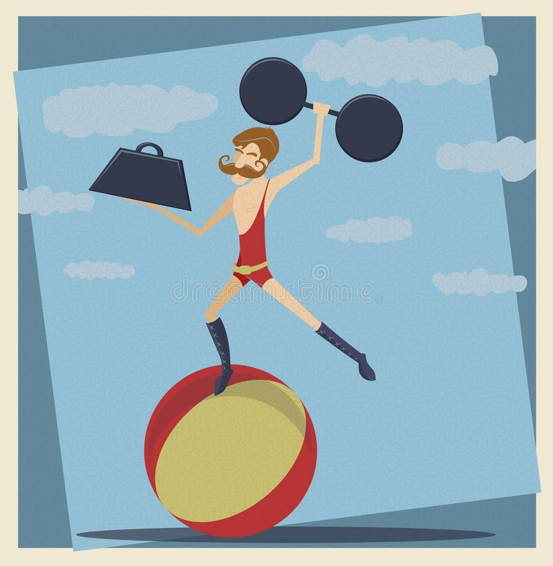 Vintage Circus StrongMan vector illustration