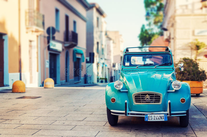 Vintage Citroen standing on the street royalty free stock photography
