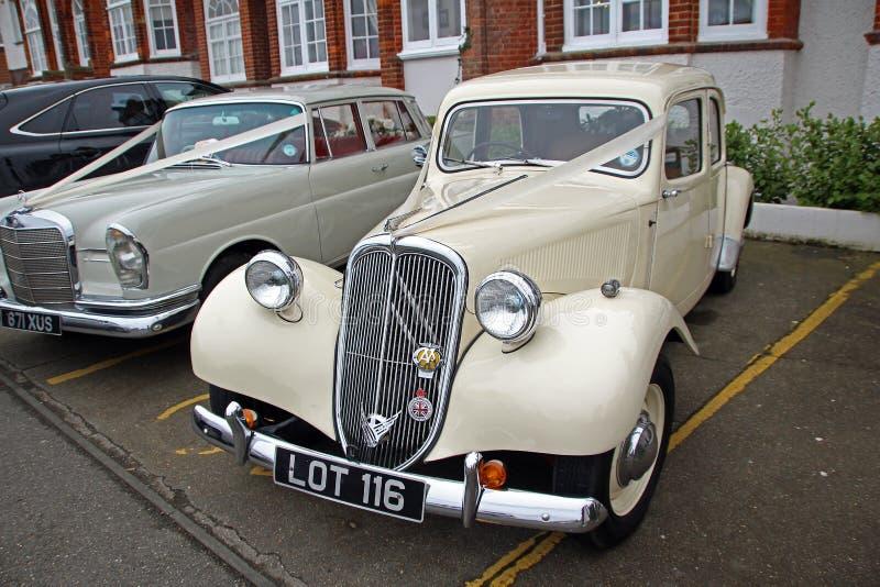 Vintage citroen wedding car stock photos