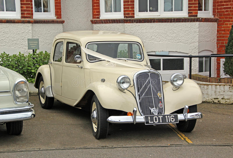 Vintage citroen wedding car royalty free stock photo