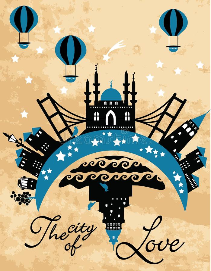 Vintage city card in vector royalty free illustration
