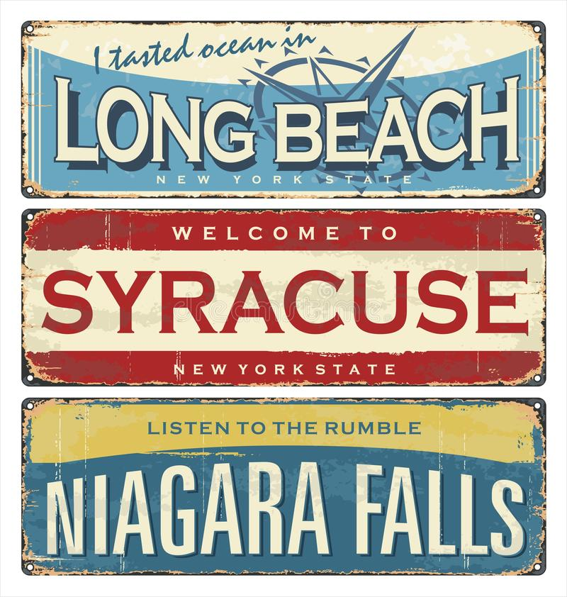 Vintage city mark. Vintage tin sign collection with US cities. Long Beach. Syracuse. Niagara Falls. Vintage city label. Vintage tin sign collection with US royalty free illustration