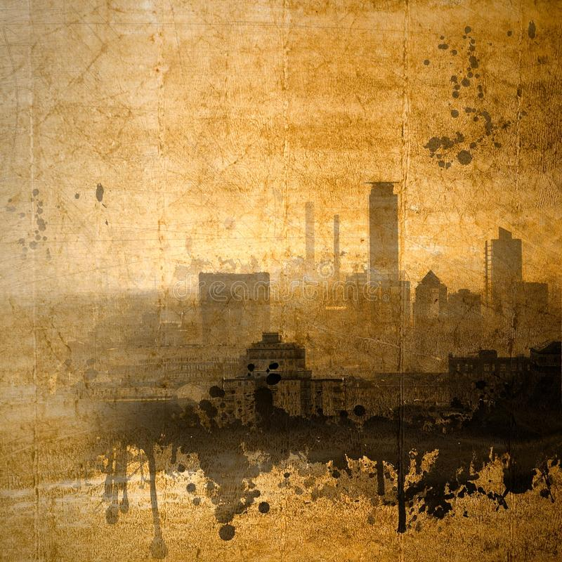 Vintage city skyline in sepia tones royalty free stock photo