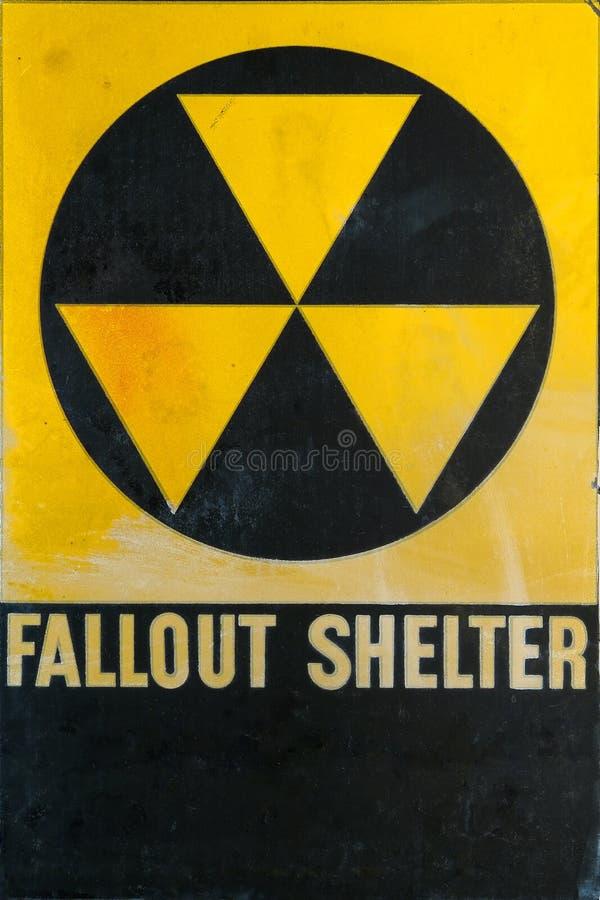 Vintage Civil Defense Fallout Shelter Refuge Sign stock photos