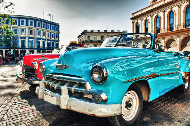 Vintage classic american car parked in a street of Old Havana stock photography