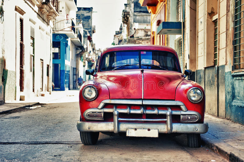Vintage classic american car parked in a street of Old Havana, C stock photography