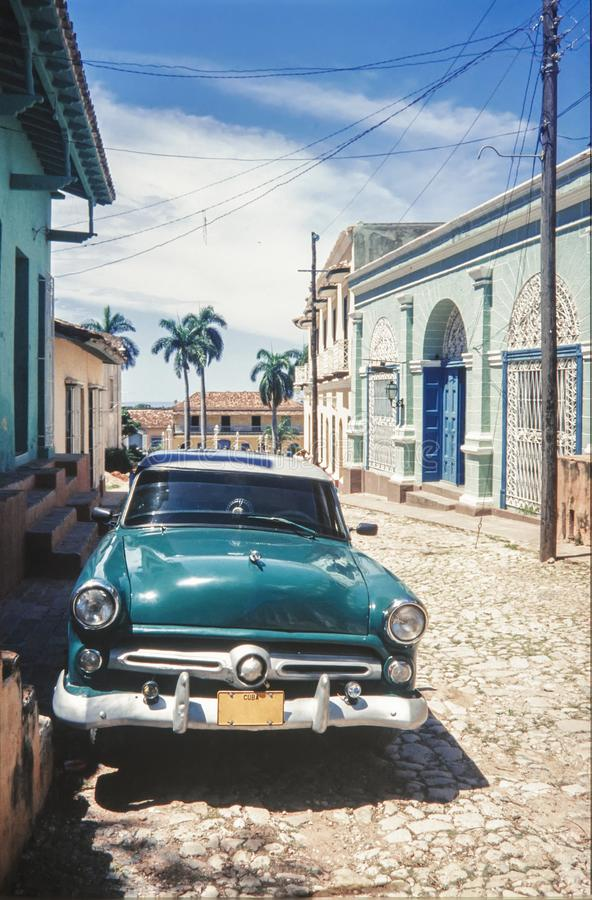 Vintage classic american car parked on a street of Old Havana. Cuba stock images