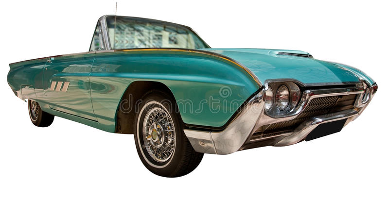 Vintage classic American convertible car. Green vintage classic American convertible car from the 70's with blank number plate in front. Isolated on white stock photos