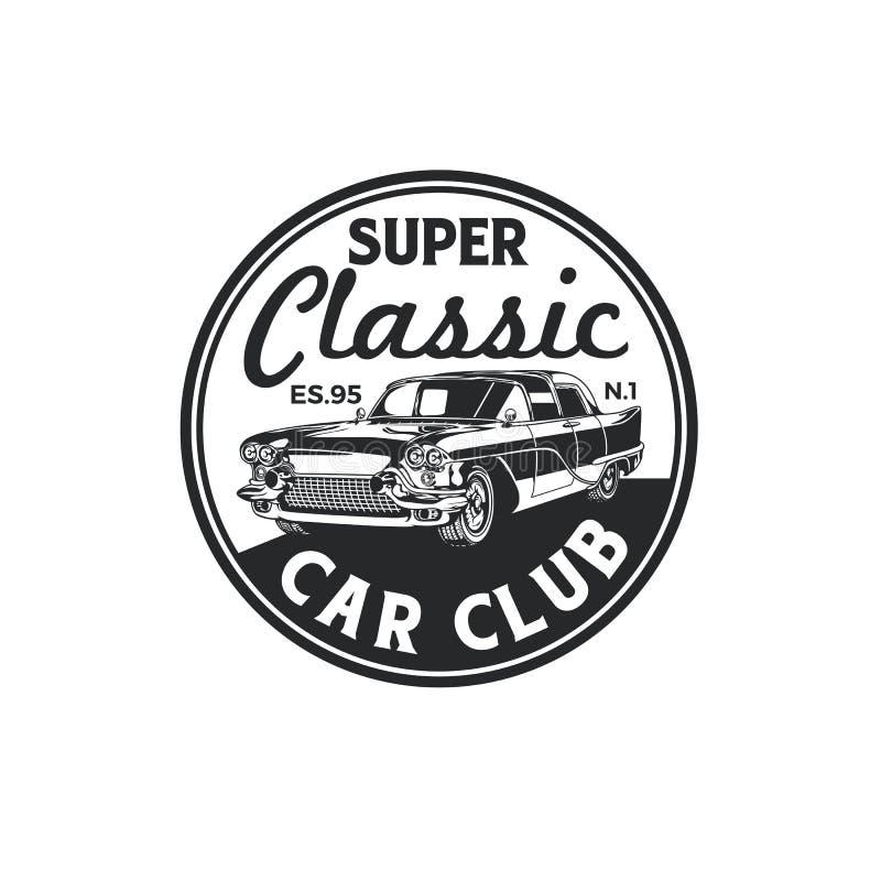 Vintage classic car club logo badge design. Old retro style community label vector template stock illustration