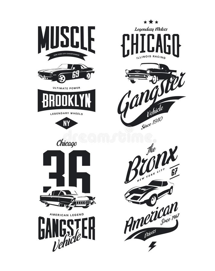 Vintage classic gangster, muscle car vector tee-shirt logo isolated set. Premium quality old sport vehicle logotype t-shirt emblem illustration. American royalty free illustration
