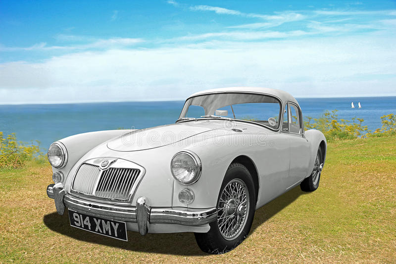 Vintage classic mga roadster car. Photo of a vintage classic mga roadster car on display at whitstable car show during summer of 2015 stock images