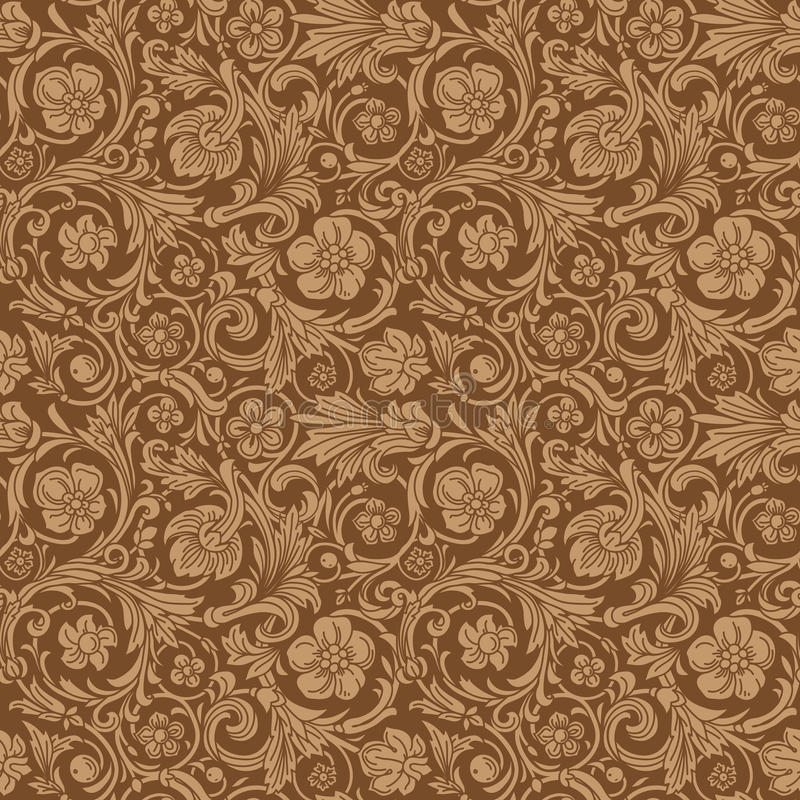 Vintage classic ornamental seamless vector pattern. In baroque style. Stylized flowers, curls and leaves on a brown background. Renaissance stock illustration
