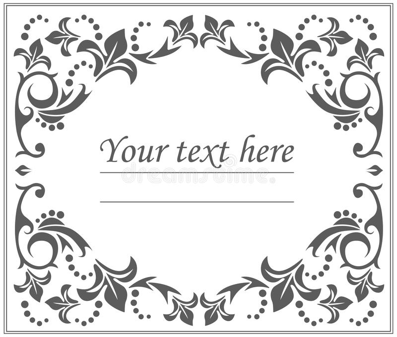 Vintage classic oval frame with floral ornament stock illustration
