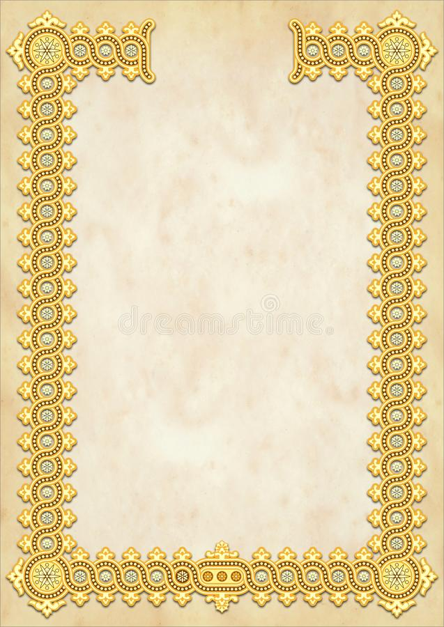 Free Vintage Classic Retro Style Diploma, Crtificate Template With Bright Gold Ornament Above Yellow Marble Surface, Size A4 Stock Photos - 164201923