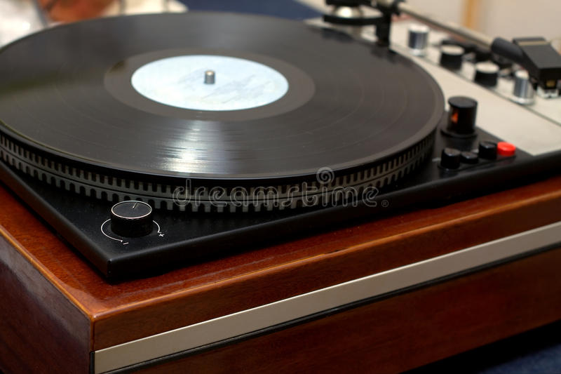 Vintage classic style old school turntable royalty free stock photo