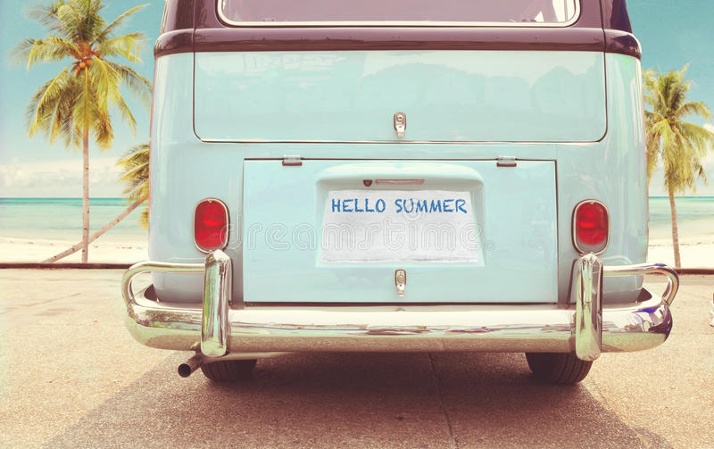 Vintage classic van parked side beach in summer stock images