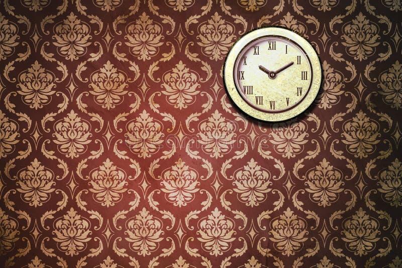 Vintage Classic Wall Clock Wallpaper. Classic wall clock hanging on vintage wallpaper stock image