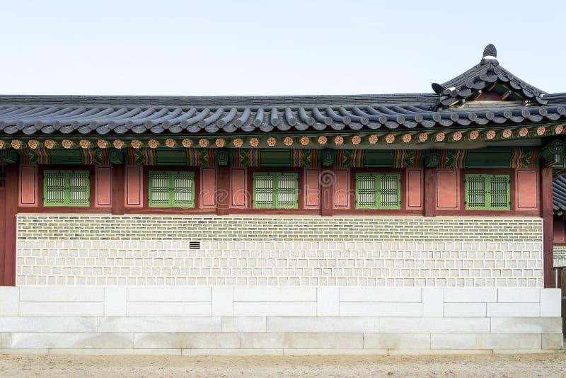 Vintage classique de mur de briques de mur en bois et en pierre dans le styl coréen photos libres de droits