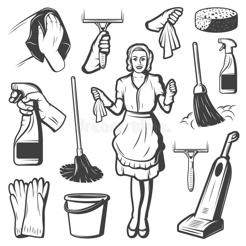 Vintage Cleaning Service Elements Collection. With maid brush bucket broom sponge gloves hoover spray isolated vector illustration stock illustration