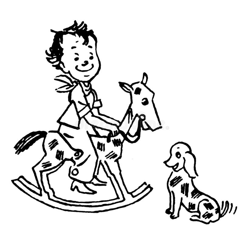 Free Vintage Clipart 57 Kid On Rocking Horse Royalty Free Stock Images - 177069499