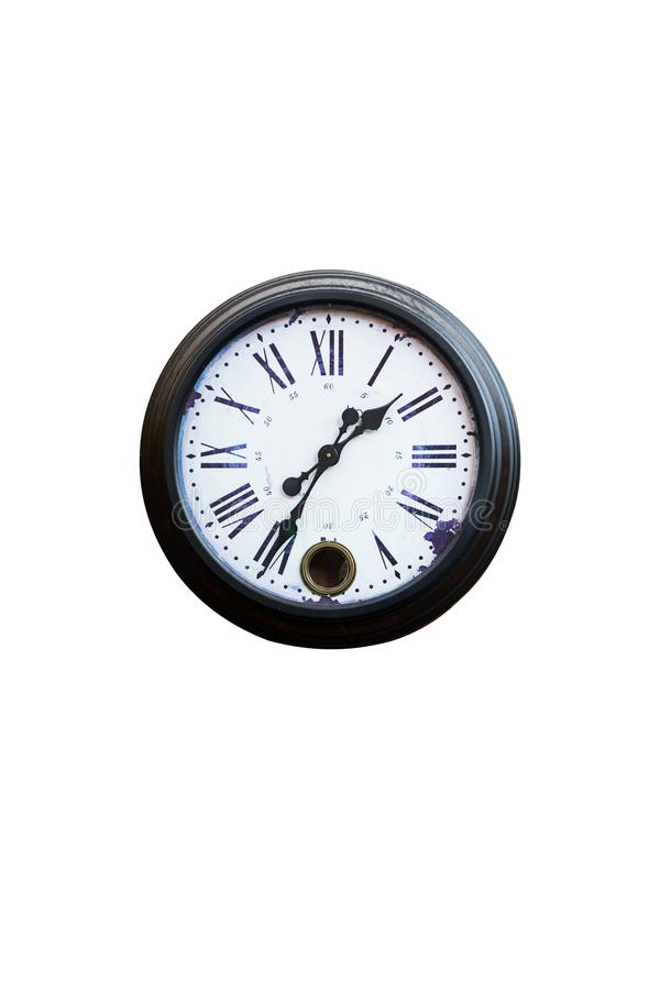 Vintage Clock analog and red brick Wall background. stock image