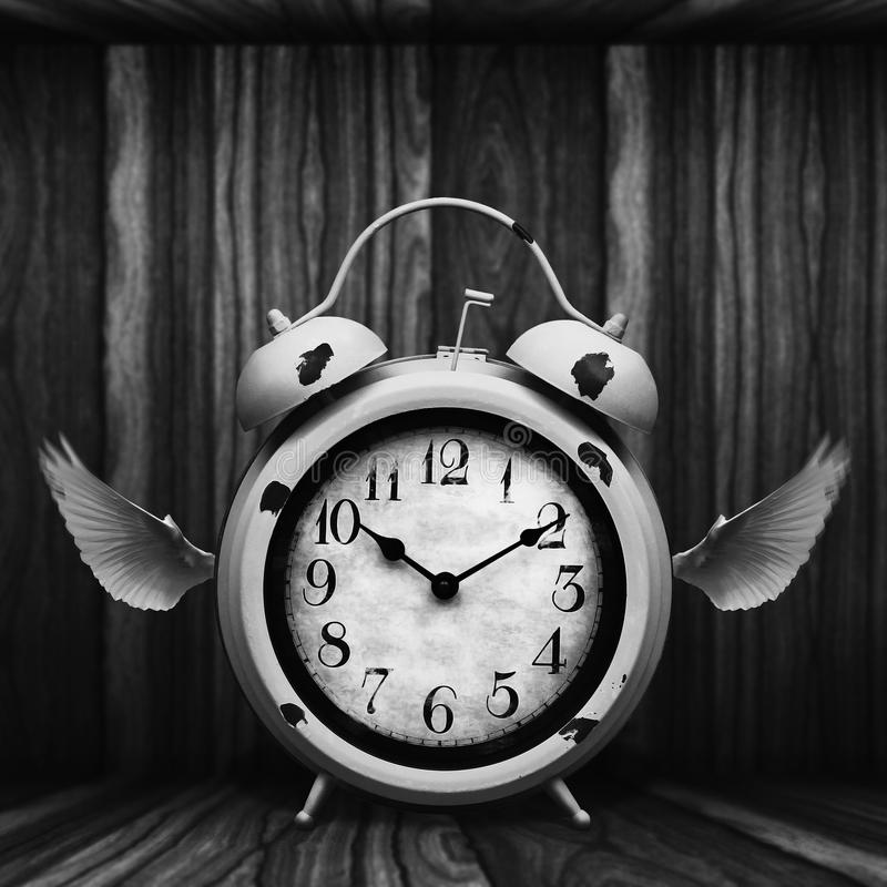 Vintage clock boxed in to keep time from flying away, fine art. stock images
