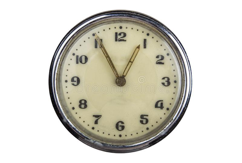 Vintage clock face isolated on white background. 5 minutes to one o`clock royalty free stock photo